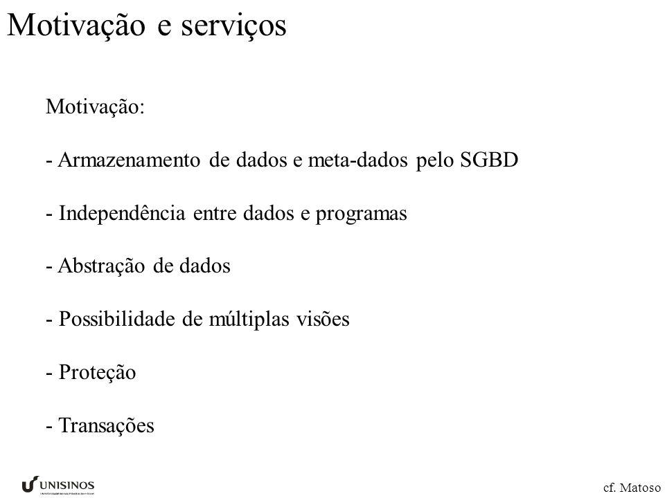 Motivação e serviços Motivação: - Armazenamento de dados e meta-dados pelo SGBD - Independência entre dados e programas - Abstração de dados - Possibi