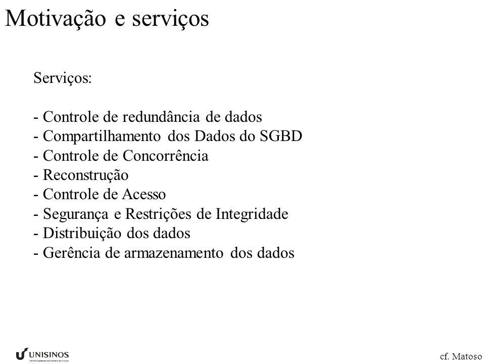 Motivação e serviços Serviços: - Controle de redundância de dados - Compartilhamento dos Dados do SGBD - Controle de Concorrência - Reconstrução - Con