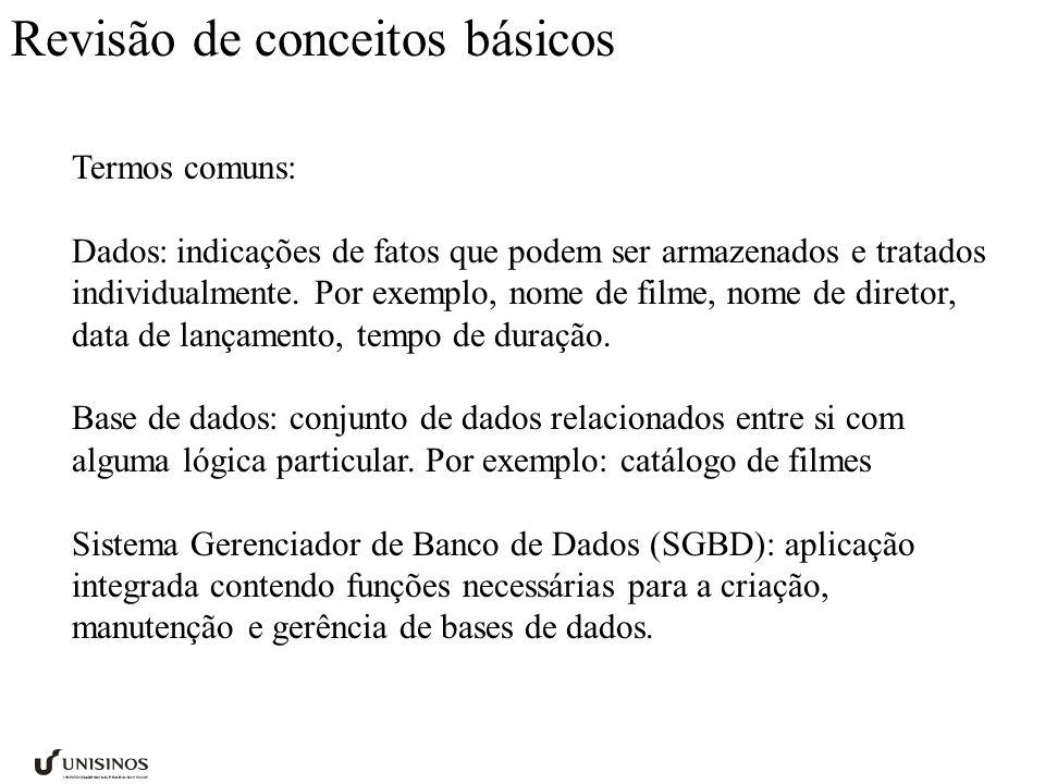 Revisão de conceitos básicos Termos comuns: Dados:indicações de fatos que podem ser armazenados e tratados individualmente. Por exemplo, nome de filme