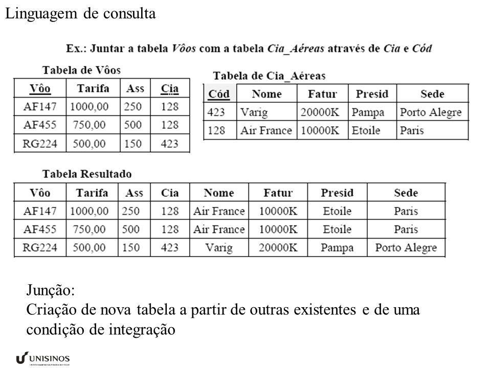 Junção: Criação de nova tabela a partir de outras existentes e de uma condição de integração Linguagem de consulta