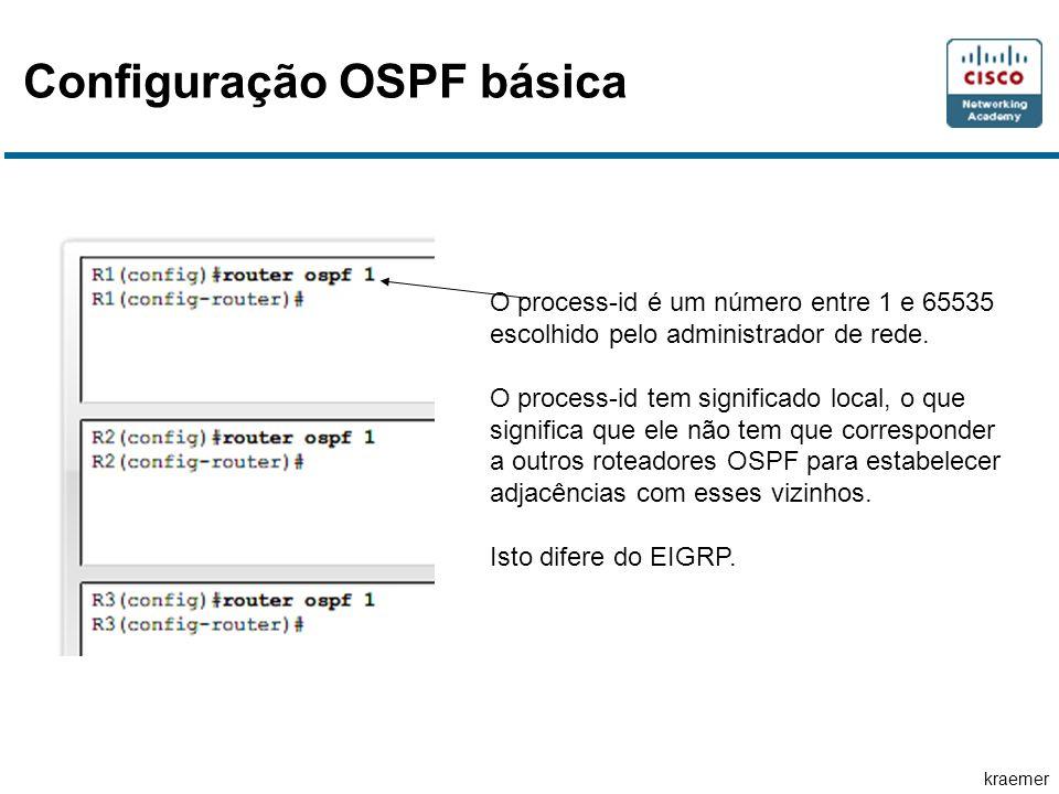 kraemer Configuração OSPF básica O process-id é um número entre 1 e 65535 escolhido pelo administrador de rede.