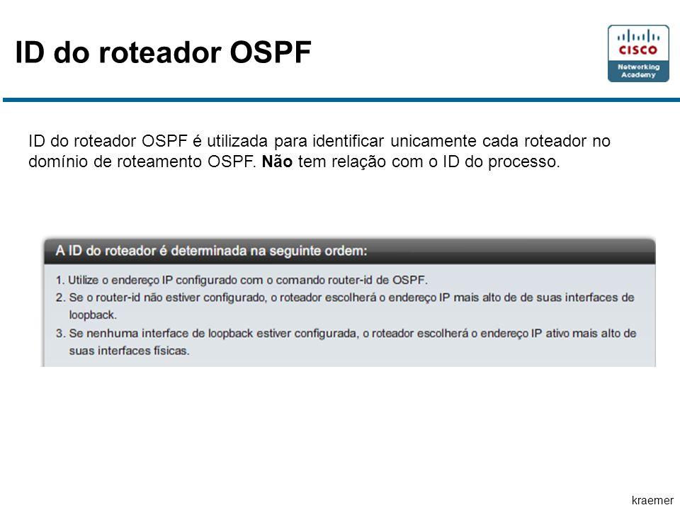 kraemer ID do roteador OSPF ID do roteador OSPF é utilizada para identificar unicamente cada roteador no domínio de roteamento OSPF.