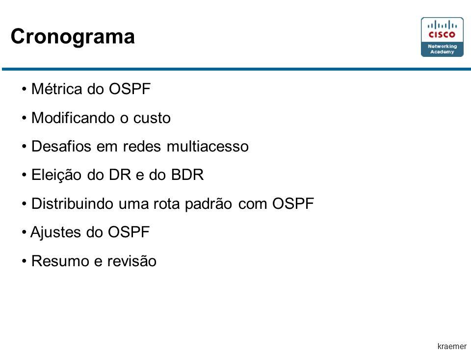kraemer Cronograma Métrica do OSPF Modificando o custo Desafios em redes multiacesso Eleição do DR e do BDR Distribuindo uma rota padrão com OSPF Ajustes do OSPF Resumo e revisão