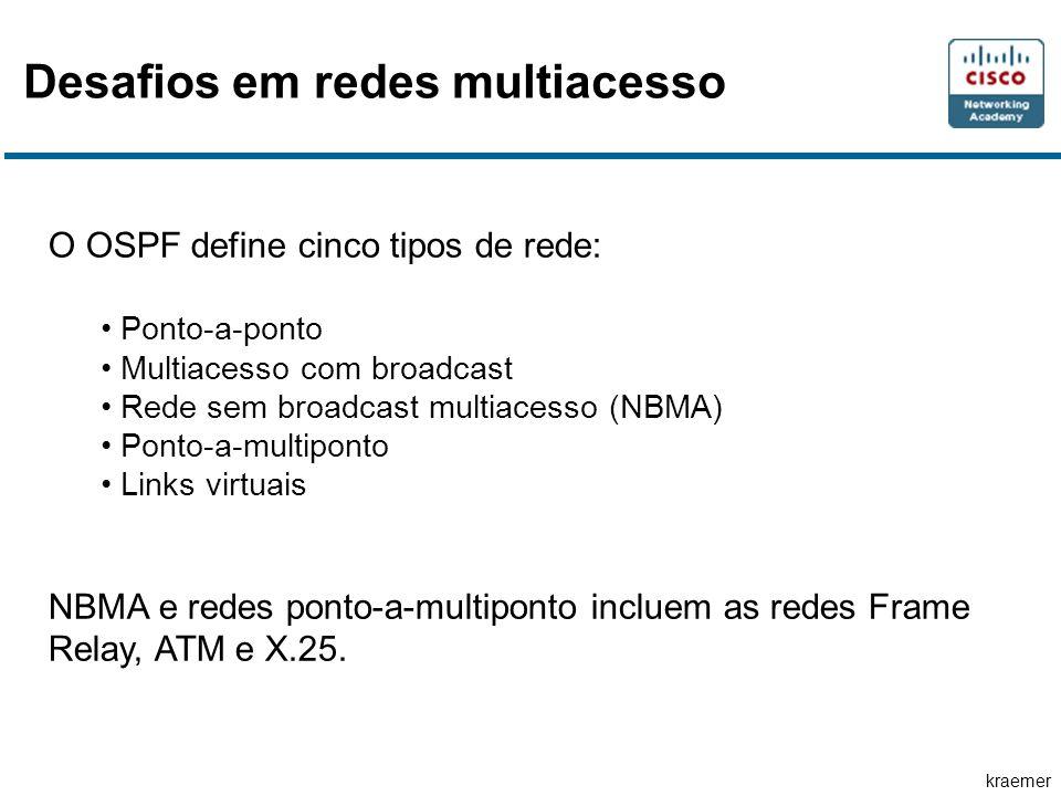 kraemer Desafios em redes multiacesso O OSPF define cinco tipos de rede: Ponto-a-ponto Multiacesso com broadcast Rede sem broadcast multiacesso (NBMA) Ponto-a-multiponto Links virtuais NBMA e redes ponto-a-multiponto incluem as redes Frame Relay, ATM e X.25.