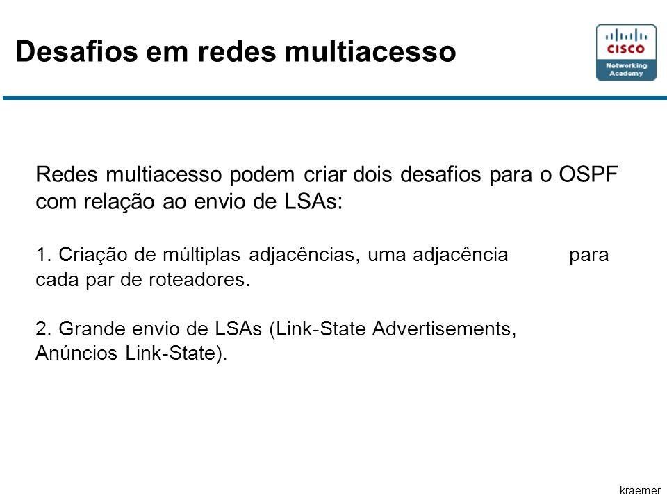 kraemer Desafios em redes multiacesso Redes multiacesso podem criar dois desafios para o OSPF com relação ao envio de LSAs: 1.