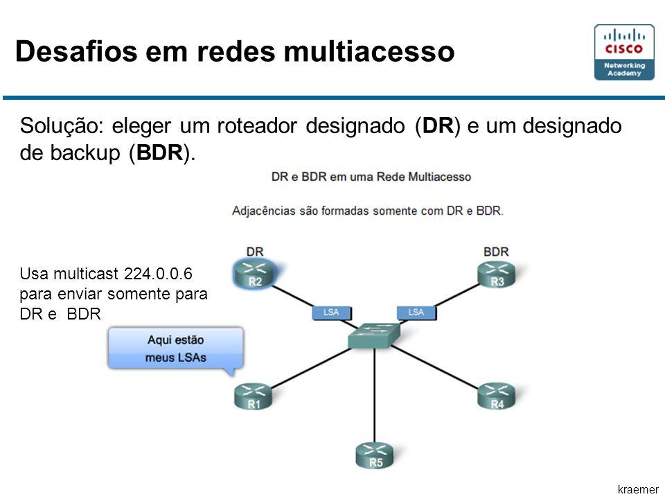 kraemer Desafios em redes multiacesso Solução: eleger um roteador designado (DR) e um designado de backup (BDR).
