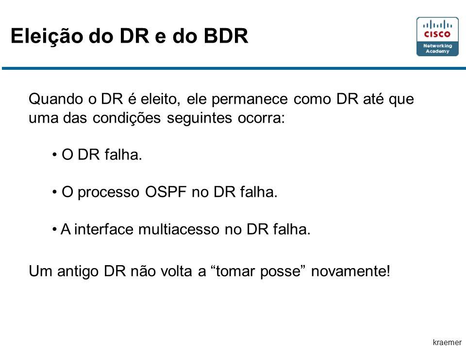 kraemer Eleição do DR e do BDR Quando o DR é eleito, ele permanece como DR até que uma das condições seguintes ocorra: O DR falha.