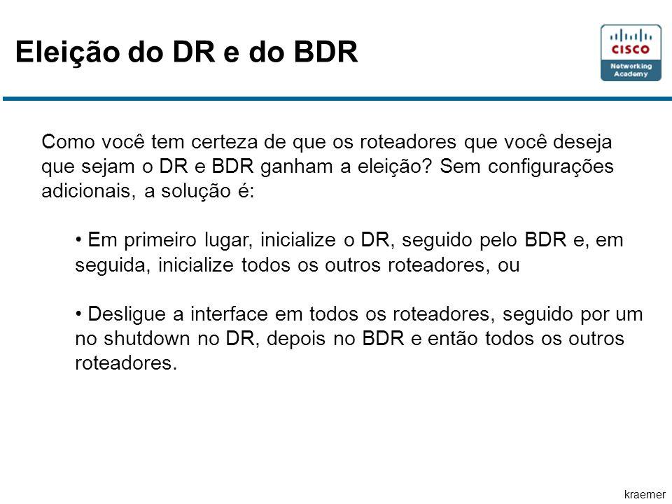 kraemer Eleição do DR e do BDR Como você tem certeza de que os roteadores que você deseja que sejam o DR e BDR ganham a eleição.