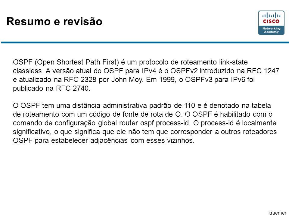 kraemer OSPF (Open Shortest Path First) é um protocolo de roteamento link-state classless.