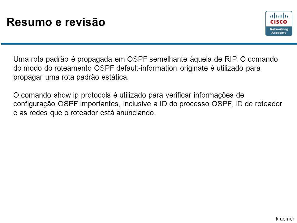 kraemer Uma rota padrão é propagada em OSPF semelhante àquela de RIP.