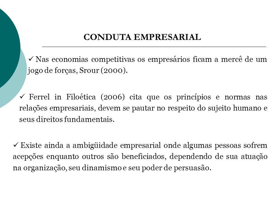 CONDUTA EMPRESARIAL Nas economias competitivas os empresários ficam a mercê de um jogo de forças, Srour (2000). Ferrel in Filoética (2006) cita que os