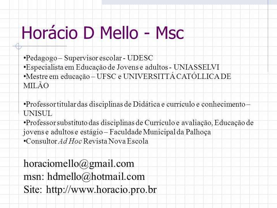 Horácio D Mello - Msc Pedagogo – Supervisor escolar - UDESC Especialista em Educação de Jovens e adultos - UNIASSELVI Mestre em educação – UFSC e UNIV