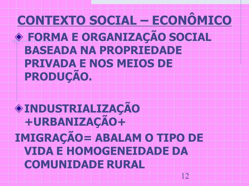 12 CONTEXTO SOCIAL – ECONÔMICO FORMA E ORGANIZAÇÃO SOCIAL BASEADA NA PROPRIEDADE PRIVADA E NOS MEIOS DE PRODUÇÃO. INDUSTRIALIZAÇÃO +URBANIZAÇÃO+ IMIGR
