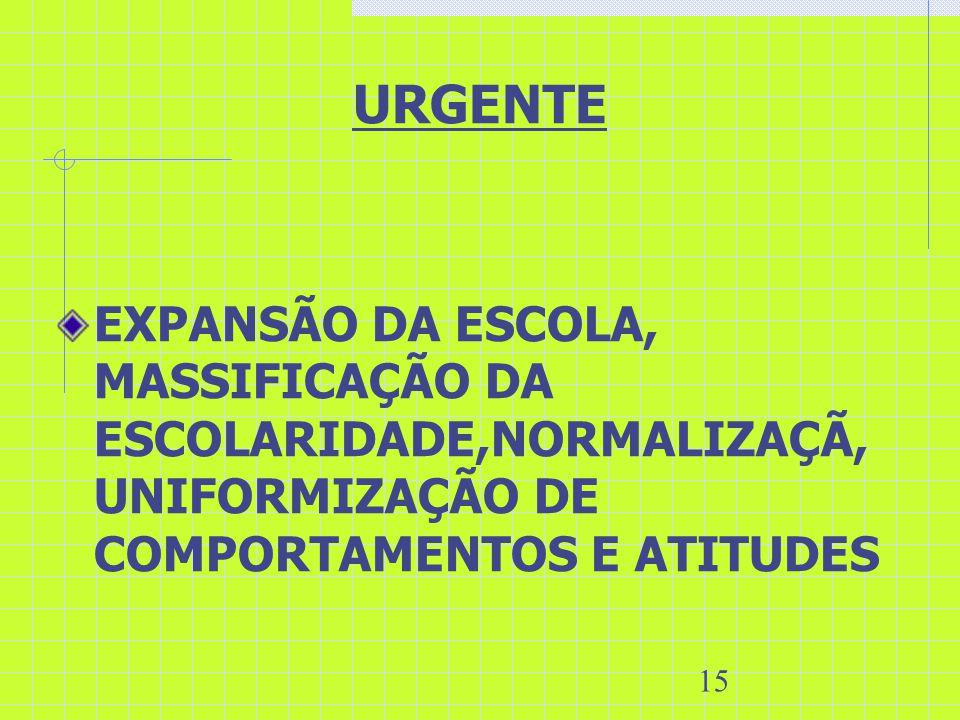15 URGENTE EXPANSÃO DA ESCOLA, MASSIFICAÇÃO DA ESCOLARIDADE,NORMALIZAÇÃ, UNIFORMIZAÇÃO DE COMPORTAMENTOS E ATITUDES