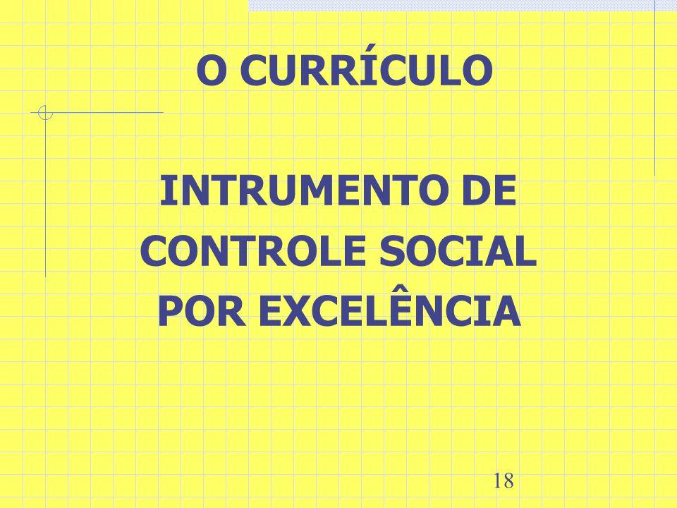 18 O CURRÍCULO INTRUMENTO DE CONTROLE SOCIAL POR EXCELÊNCIA