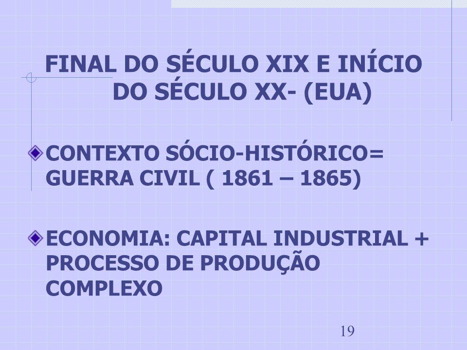 19 FINAL DO SÉCULO XIX E INÍCIO DO SÉCULO XX- (EUA) CONTEXTO SÓCIO-HISTÓRICO= GUERRA CIVIL ( 1861 – 1865) ECONOMIA: CAPITAL INDUSTRIAL + PROCESSO DE P