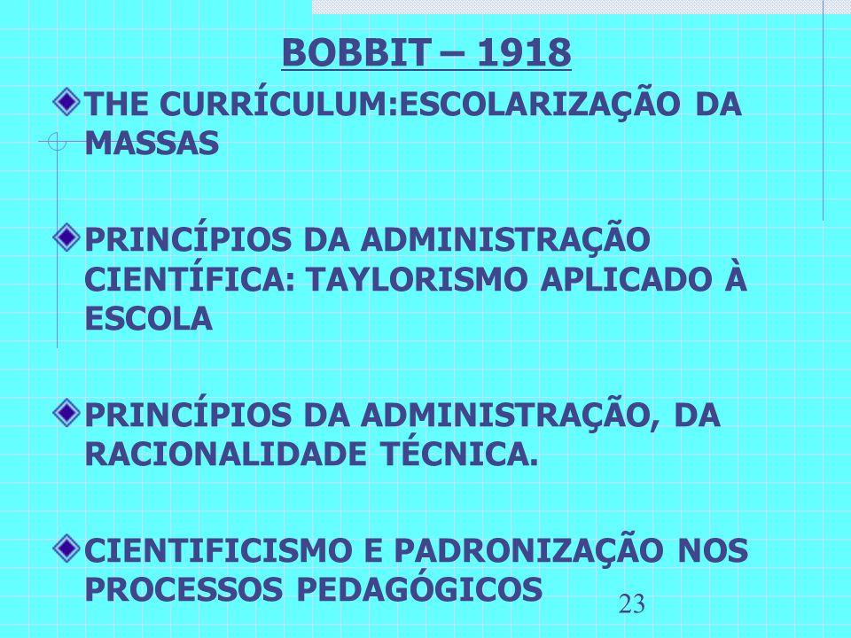 23 BOBBIT – 1918 THE CURRÍCULUM:ESCOLARIZAÇÃO DA MASSAS PRINCÍPIOS DA ADMINISTRAÇÃO CIENTÍFICA: TAYLORISMO APLICADO À ESCOLA PRINCÍPIOS DA ADMINISTRAÇ