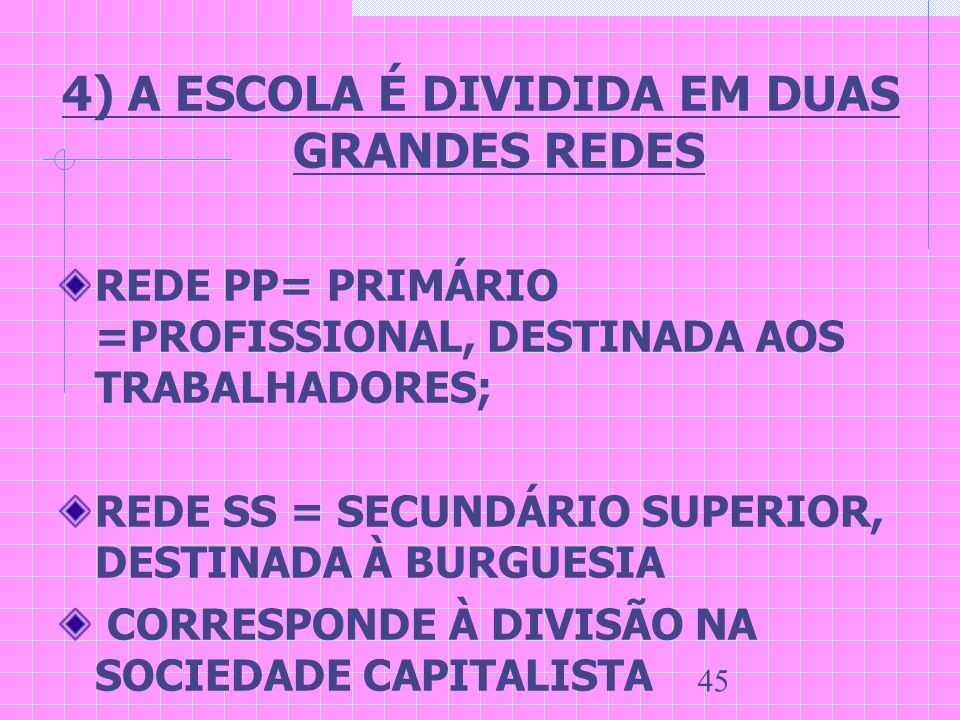 45 4) A ESCOLA É DIVIDIDA EM DUAS GRANDES REDES REDE PP= PRIMÁRIO =PROFISSIONAL, DESTINADA AOS TRABALHADORES; REDE SS = SECUNDÁRIO SUPERIOR, DESTINADA