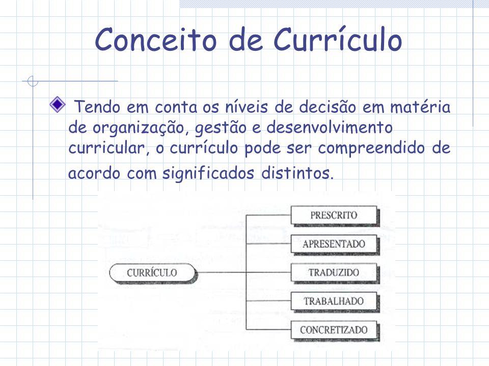 Conceito de Currículo Tendo em conta os níveis de decisão em matéria de organização, gestão e desenvolvimento curricular, o currículo pode ser compree