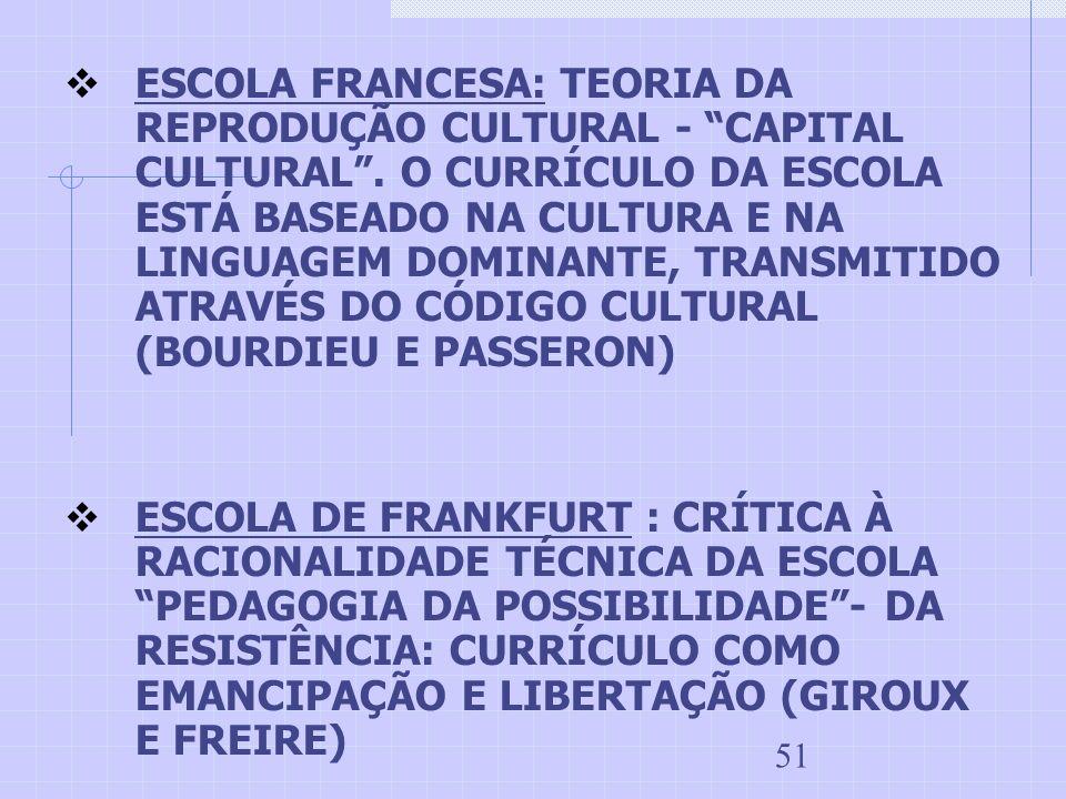 51 ESCOLA FRANCESA: TEORIA DA REPRODUÇÃO CULTURAL - CAPITAL CULTURAL. O CURRÍCULO DA ESCOLA ESTÁ BASEADO NA CULTURA E NA LINGUAGEM DOMINANTE, TRANSMIT