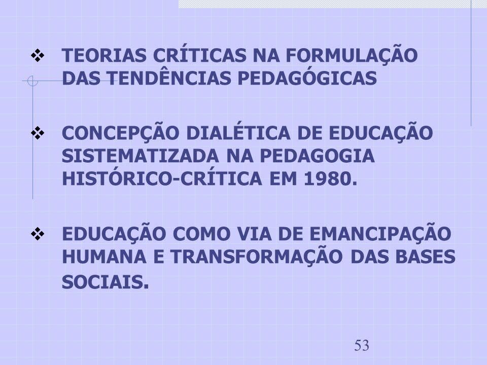 53 TEORIAS CRÍTICAS NA FORMULAÇÃO DAS TENDÊNCIAS PEDAGÓGICAS CONCEPÇÃO DIALÉTICA DE EDUCAÇÃO SISTEMATIZADA NA PEDAGOGIA HISTÓRICO-CRÍTICA EM 1980. EDU