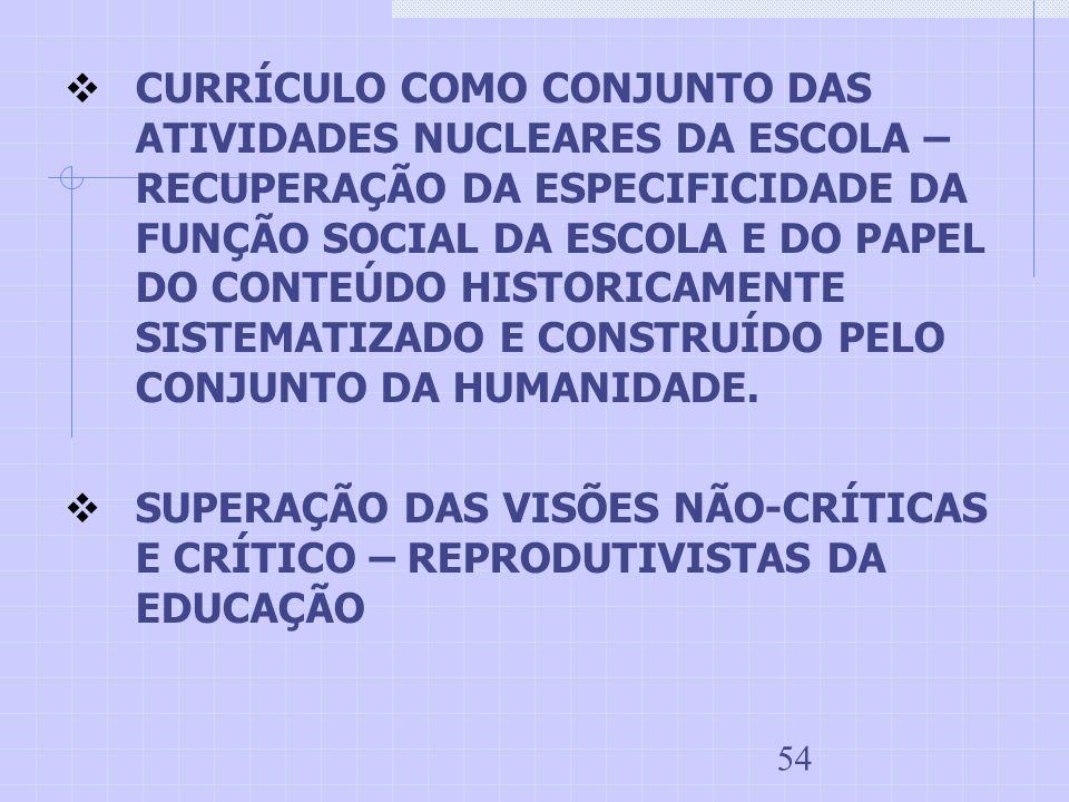 54 CURRÍCULO COMO CONJUNTO DAS ATIVIDADES NUCLEARES DA ESCOLA – RECUPERAÇÃO DA ESPECIFICIDADE DA FUNÇÃO SOCIAL DA ESCOLA E DO PAPEL DO CONTEÚDO HISTOR