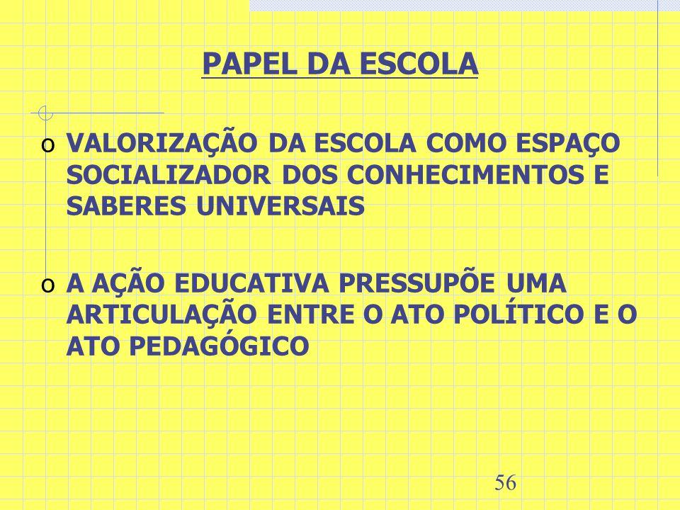 56 PAPEL DA ESCOLA o VALORIZAÇÃO DA ESCOLA COMO ESPAÇO SOCIALIZADOR DOS CONHECIMENTOS E SABERES UNIVERSAIS o A AÇÃO EDUCATIVA PRESSUPÕE UMA ARTICULAÇÃ