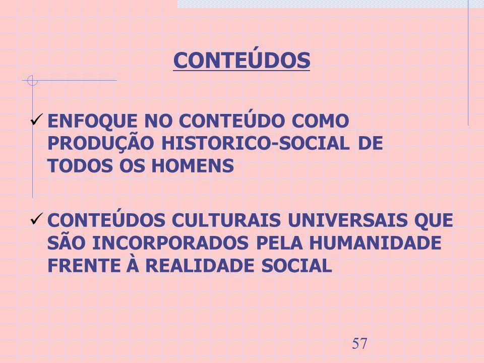 57 CONTEÚDOS ENFOQUE NO CONTEÚDO COMO PRODUÇÃO HISTORICO-SOCIAL DE TODOS OS HOMENS CONTEÚDOS CULTURAIS UNIVERSAIS QUE SÃO INCORPORADOS PELA HUMANIDADE