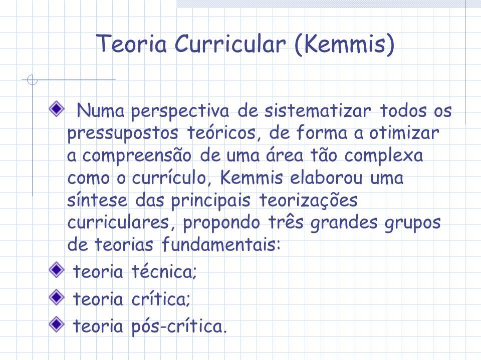 Teoria Curricular (Kemmis) Numa perspectiva de sistematizar todos os pressupostos teóricos, de forma a otimizar a compreensão de uma área tão complexa