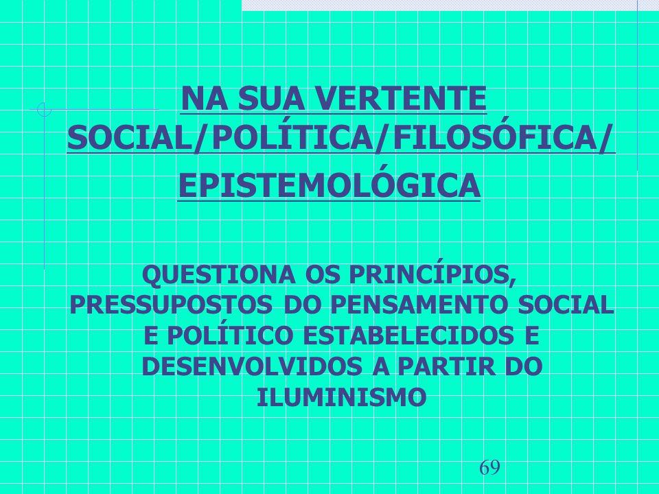 69 NA SUA VERTENTE SOCIAL/POLÍTICA/FILOSÓFICA/ EPISTEMOLÓGICA QUESTIONA OS PRINCÍPIOS, PRESSUPOSTOS DO PENSAMENTO SOCIAL E POLÍTICO ESTABELECIDOS E DE