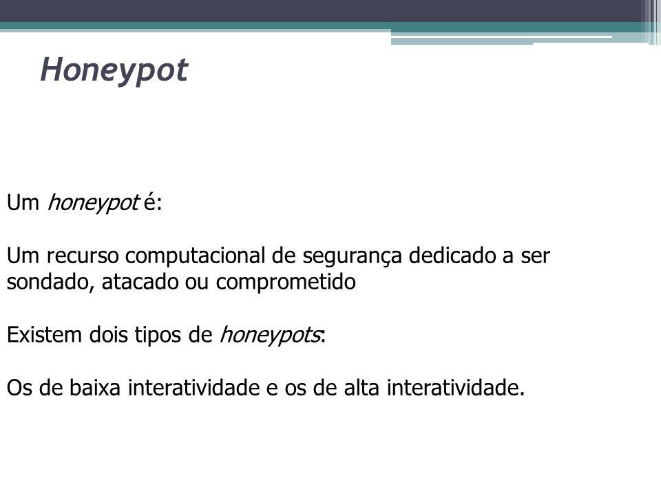 Honeypot Um honeypot é: Um recurso computacional de segurança dedicado a ser sondado, atacado ou comprometido Existem dois tipos de honeypots: Os de b
