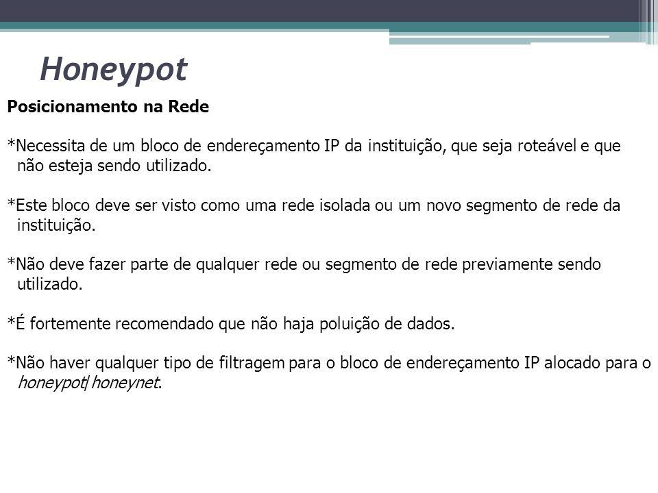 Honeypot Posicionamento na Rede *Necessita de um bloco de endereçamento IP da instituição, que seja roteável e que não esteja sendo utilizado. *Este b