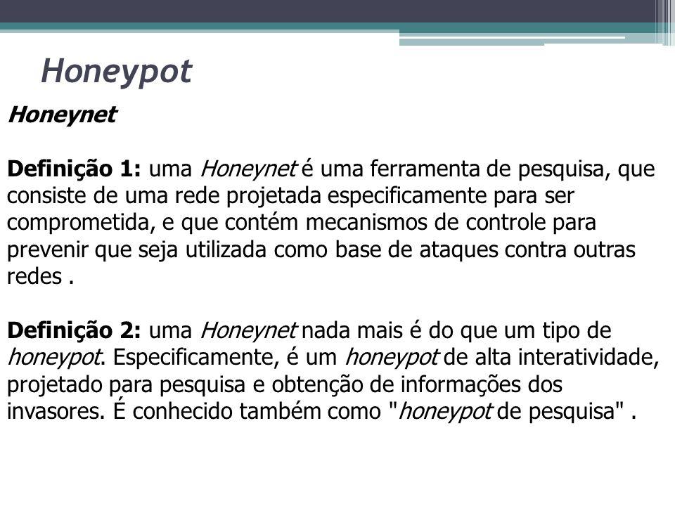 Honeypot Honeynet Definição 1: uma Honeynet é uma ferramenta de pesquisa, que consiste de uma rede projetada especificamente para ser comprometida, e