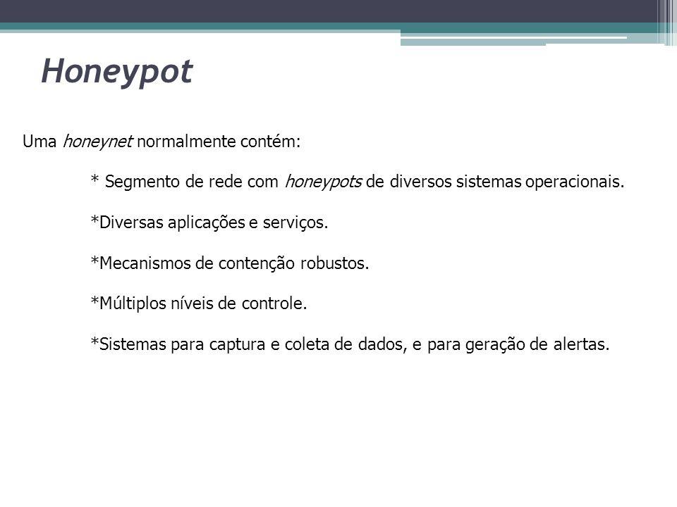 Honeypot Uma honeynet normalmente contém: * Segmento de rede com honeypots de diversos sistemas operacionais. *Diversas aplicações e serviços. *Mecani