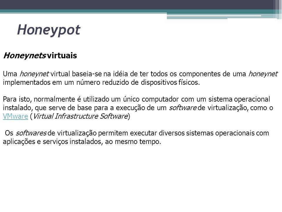 Honeypot Honeynets virtuais Uma honeynet virtual baseia-se na idéia de ter todos os componentes de uma honeynet implementados em um número reduzido de