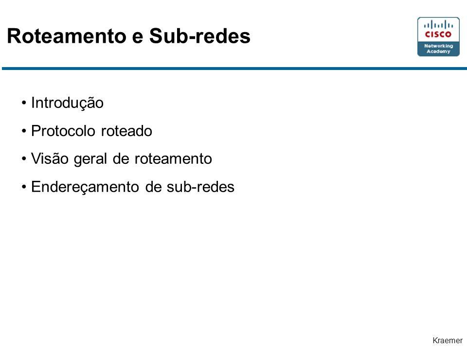 Kraemer Roteamento e Sub-redes Introdução Protocolo roteado Visão geral de roteamento Endereçamento de sub-redes