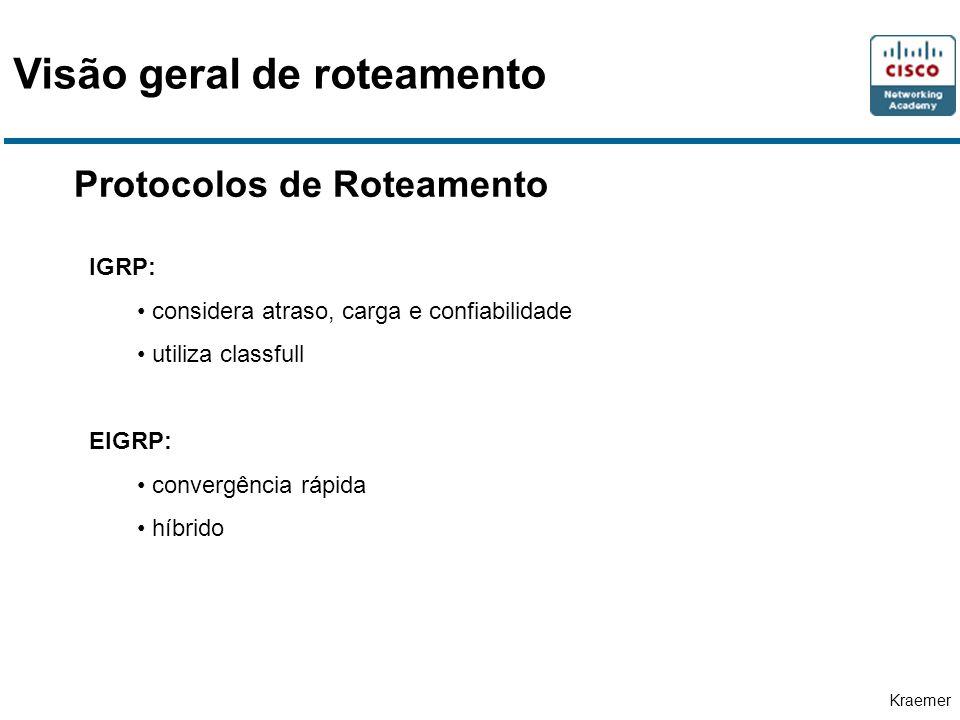 Kraemer Protocolos de Roteamento IGRP: considera atraso, carga e confiabilidade utiliza classfull EIGRP: convergência rápida híbrido Visão geral de roteamento