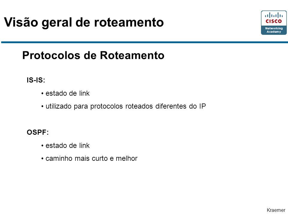 Kraemer Protocolos de Roteamento IS-IS: estado de link utilizado para protocolos roteados diferentes do IP OSPF: estado de link caminho mais curto e melhor Visão geral de roteamento