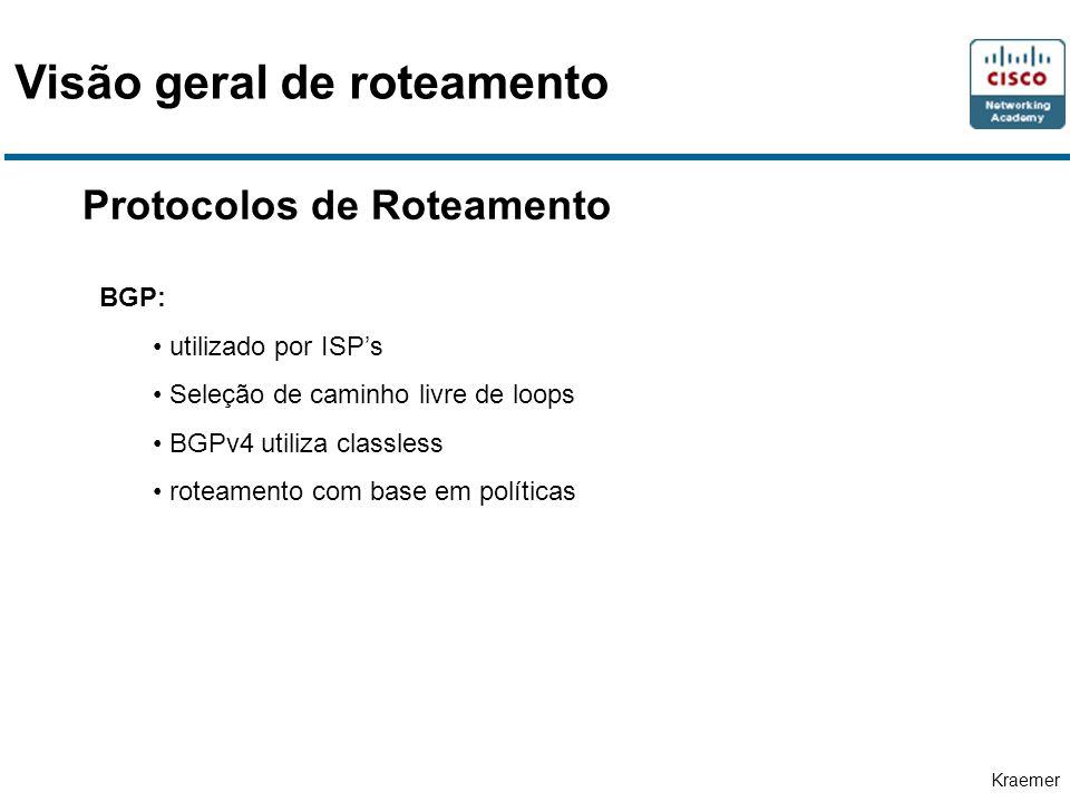 Kraemer Protocolos de Roteamento BGP: utilizado por ISPs Seleção de caminho livre de loops BGPv4 utiliza classless roteamento com base em políticas Visão geral de roteamento