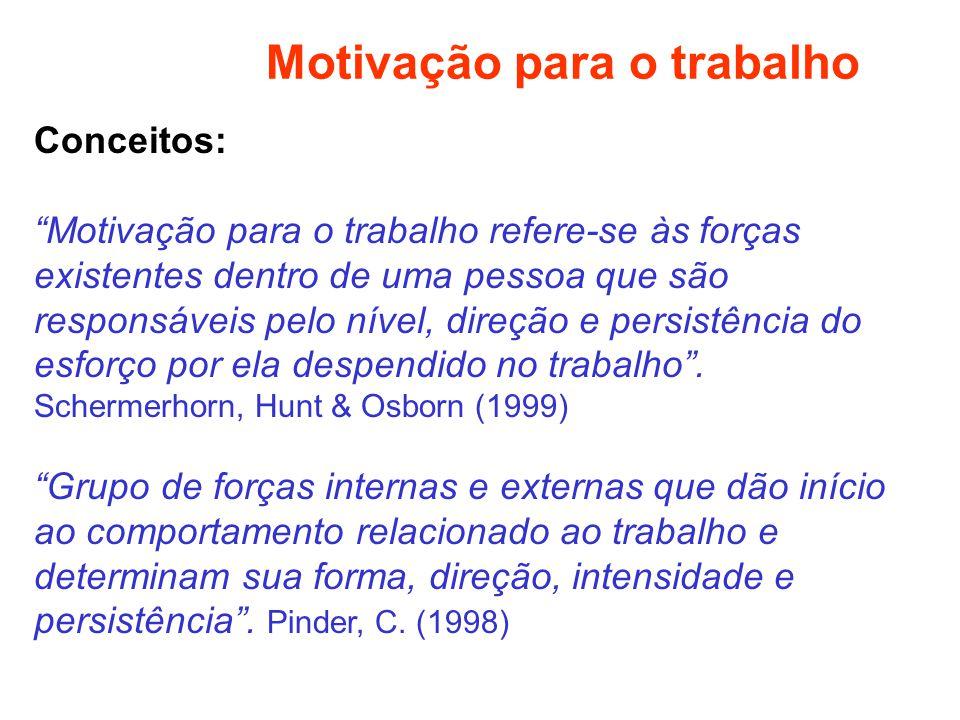 Motivação para o trabalho Conceitos: Motivação para o trabalho refere-se às forças existentes dentro de uma pessoa que são responsáveis pelo nível, di