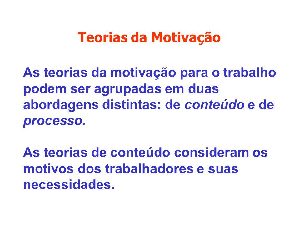As teorias da motivação para o trabalho podem ser agrupadas em duas abordagens distintas: de conteúdo e de processo. As teorias de conteúdo consideram