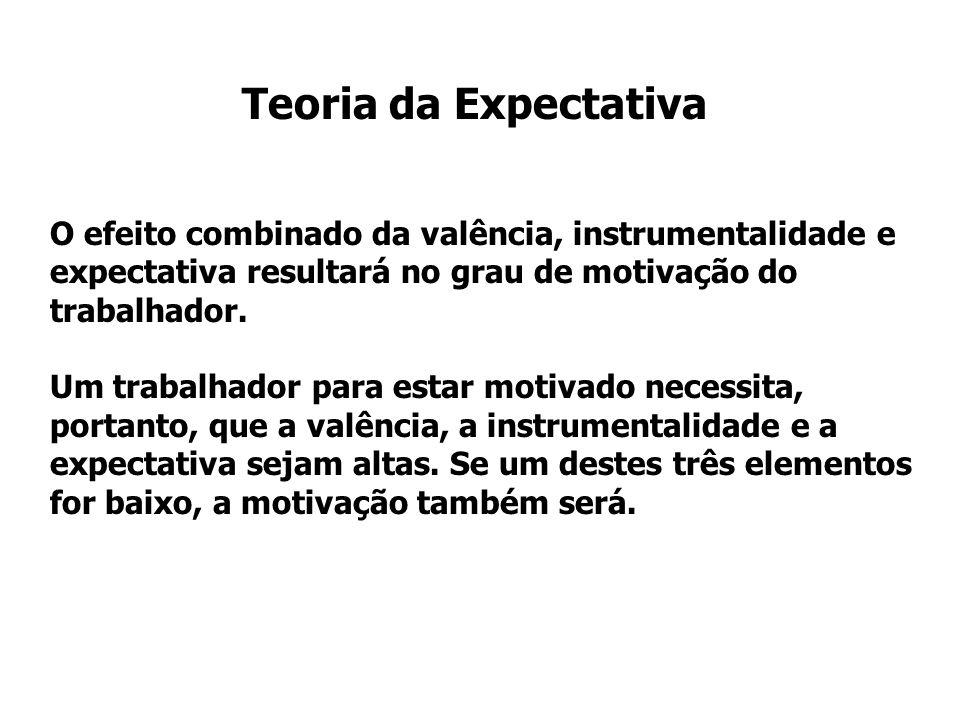 O efeito combinado da valência, instrumentalidade e expectativa resultará no grau de motivação do trabalhador. Um trabalhador para estar motivado nece