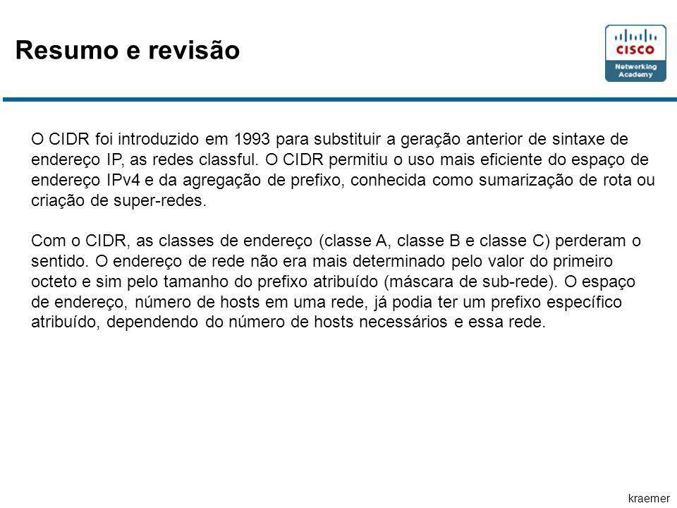 kraemer O CIDR foi introduzido em 1993 para substituir a geração anterior de sintaxe de endereço IP, as redes classful. O CIDR permitiu o uso mais efi