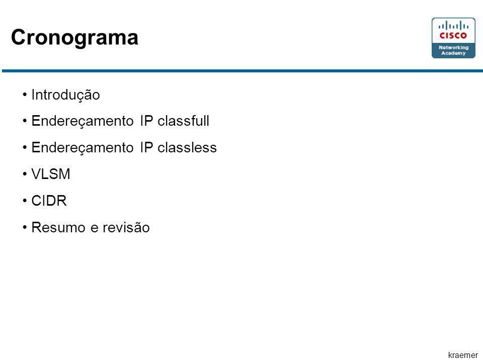 kraemer Cronograma Introdução Endereçamento IP classfull Endereçamento IP classless VLSM CIDR Resumo e revisão