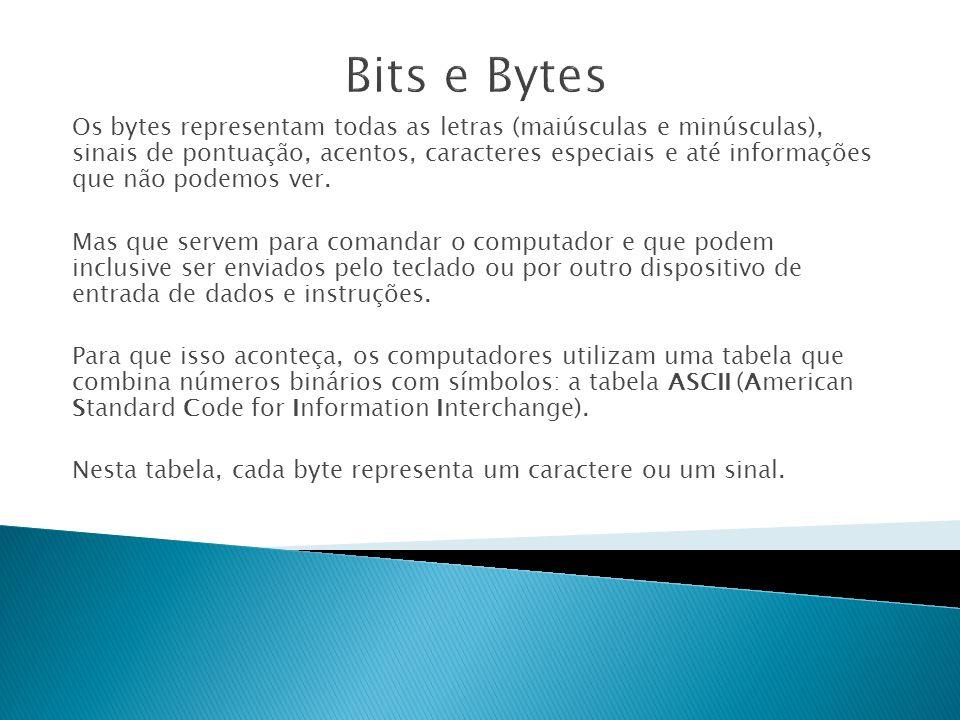Os bytes representam todas as letras (maiúsculas e minúsculas), sinais de pontuação, acentos, caracteres especiais e até informações que não podemos ver.