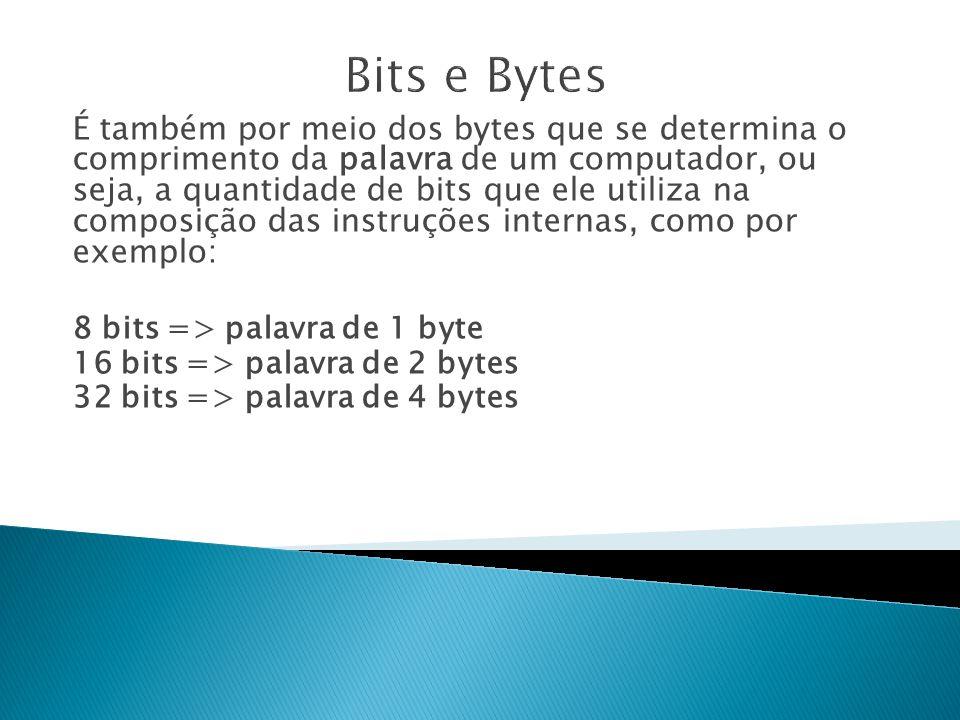É também por meio dos bytes que se determina o comprimento da palavra de um computador, ou seja, a quantidade de bits que ele utiliza na composição das instruções internas, como por exemplo: 8 bits => palavra de 1 byte 16 bits => palavra de 2 bytes 32 bits => palavra de 4 bytes