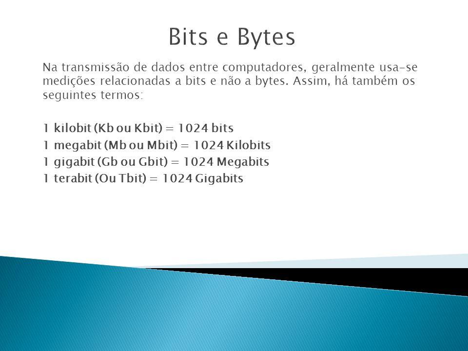 Na transmissão de dados entre computadores, geralmente usa-se medições relacionadas a bits e não a bytes.