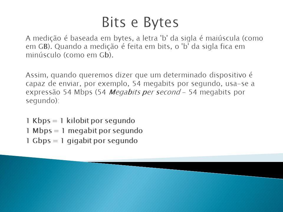 A medição é baseada em bytes, a letra b da sigla é maiúscula (como em GB).