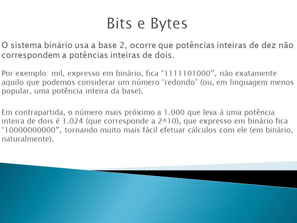 O sistema binário usa a base 2, ocorre que potências inteiras de dez não correspondem a potências inteiras de dois.