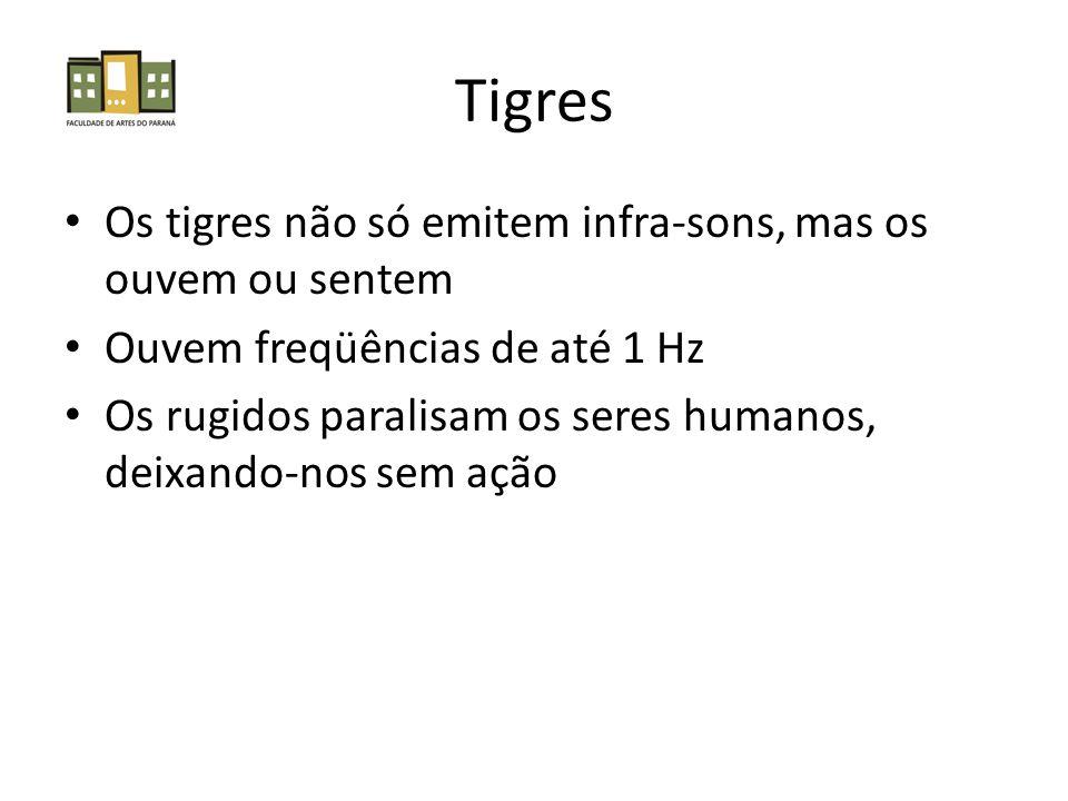 Tigres Os tigres não só emitem infra-sons, mas os ouvem ou sentem Ouvem freqüências de até 1 Hz Os rugidos paralisam os seres humanos, deixando-nos se